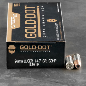 50rds – 9mm Speer LE Gold Dot 147gr. JHP Ammo