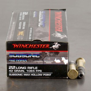 500rds - 22LR Winchester Subsonic 42 Max 42gr. Subsonic HP Ammo