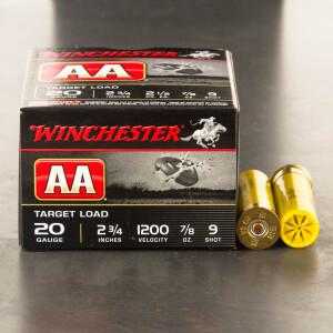 """250rds - 20 Gauge Winchester AA Target 2 3/4"""" 7/8 Ounce #9 Shot Ammo"""