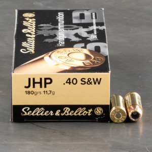 50rds – 40 S&W Sellier & Bellot 180gr. JHP Ammo