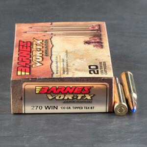 20rds – 270 Win Barnes VOR-TX 130gr. TTSX BT Ammo