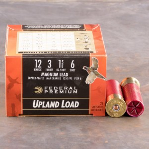 "25rds – 12 Gauge Federal Wing-Shok High Velocity 3"" 1-5/8oz. #6 Shot Ammo"