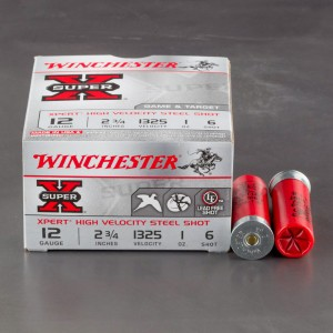 "250rds - 12 Ga. Winchester XPERT Game/Target  2 3/4"" 1oz #6 Steel Shot Ammo"