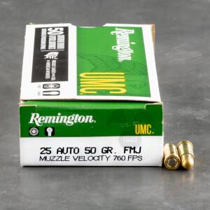 500rds - 25 Auto Remington UMC 50gr. FMJ Ammo