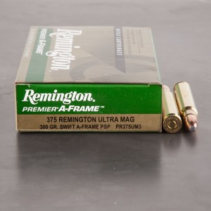 20rds - 375 RUM Remington Premier 300gr. Swift A-Frame PSP Ammo