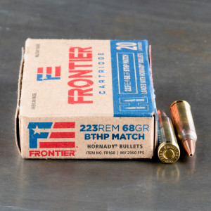 20rds – 223 Rem Hornady Frontier 68gr. BTHP Match Ammo