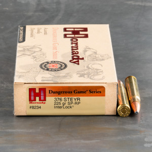 20rds - 376 Steyr Hornady Custom 225gr. Interlock Spire Point Ammo