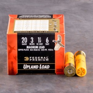 "250rds - 20 Gauge Federal Wing Shok 3""  1 1/4oz. #6 Shot"
