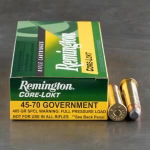 20rds - 45-70 Govt. Reminton Core-Lokt 405gr. SP Ammo