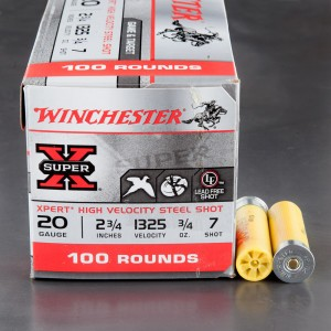 "100rds - 20 Gauge Winchester Xpert Steel Game Load 2 3/4"" 3/4oz. #7 Shot"