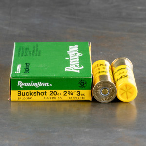 "5rds - 20 Gauge Remington Express 2 3/4"" #3 Buckshot Ammo"