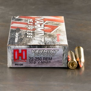 20rds - 22-250 Hornady 50gr. V-Max Polymer Tip Ammo