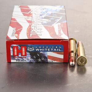 20rds - 30-30 Hornady American Whitetail 150gr. InterLock RNSP Ammo