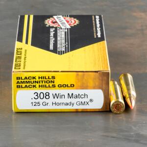 20rds – 308 Win Black Hills Gold 125gr. GMX Ammo