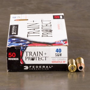 50rds - 40 S&W Federal Train + Protect 180gr. VHP Ammo