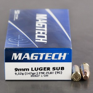 50rds – 9mm Magtech Subsonic 147gr. FMC Flat Point Ammo