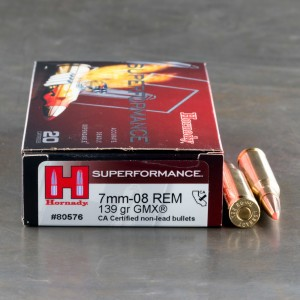 20rds - 7mm-08 Rem. Hornady 139gr. GMX Superformance Ammo