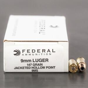 50rds - 9mm Federal LE Hi-Shok 147gr. Hollow Point Ammo