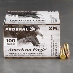 100rds – 223 Rem Federal American Eagle 55gr. FMJBT Ammo