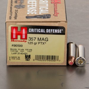 25rds - 357 Mag Hornady Critical Defense 125gr. FTX Hollow Point Ammo