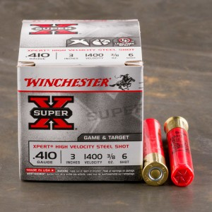 "25rds – 410 Bore Winchester Super X 3"" 3/8oz. #6 Steel Shot Ammo"