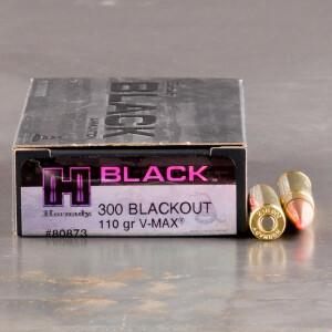 20rds – 300 AAC Blackout Hornady BLACK 110gr. V-MAX Ammo