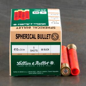 "25rds - .410 Gauge Sellier & Bellot 3"" 5 Pellet 00 Buckshot Ammo"