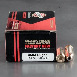 20rds - 9mm Luger Black Hills 124gr. +P JHP Ammo