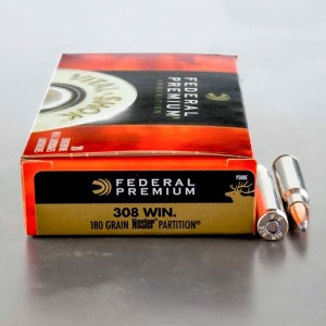 20rds - 308 Federal Premium 180gr. Nosler Partition SP Ammo