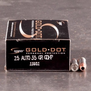 20rds - 25 Auto Speer Gold Dot 35gr. HP Ammo