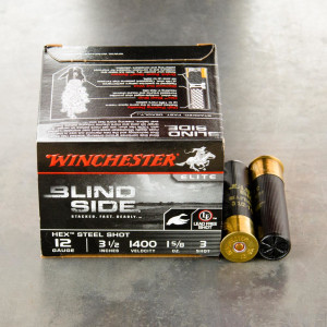 "250rds – 12 Gauge Winchester Blind Side 3-1/2"" 1-5/8oz. #3 Steel Shot Ammo"