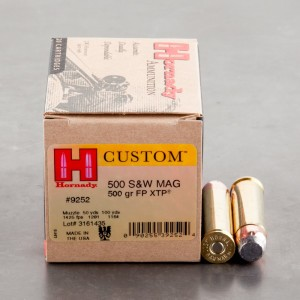 20rds – 500 S&W Hornady Custom 500gr. InterLock Flat Point XTP Ammo