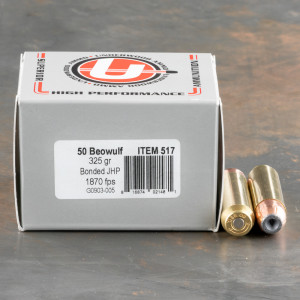 20rds – 50 Beowulf Underwood 325gr. Bonded JHP Ammo