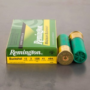 "5rds – 12 Gauge Remington Express 3"" #4 Magnum Buck Shot Ammo"