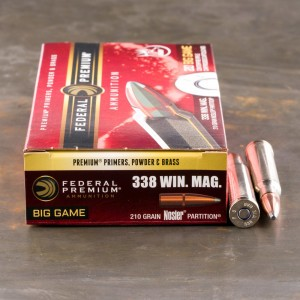 20rds – 338 Win Mag Federal Vital-Shok 210gr. Nosler Partition Ammo