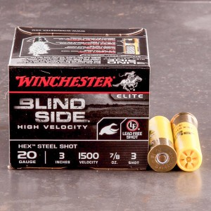 "250rds - 20 Gauge Winchester Blind Side HV 3"" 7/8oz. #3 Steel Shot Ammo"