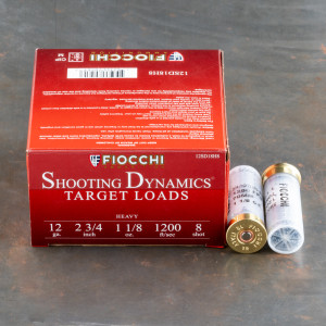 "25rds - 12 Gauge Fiocchi Heavy Target Shooting Dynamics 2 3/4"" 1 1/8oz. #8 Shot Ammo"