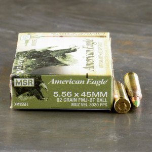 20rds – 5.56x45mm Federal American Eagle XM855 62gr. FMJBT Ammo
