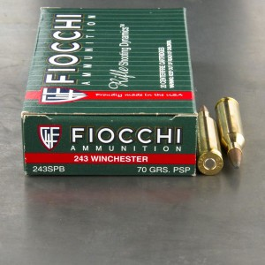 200rds - 243 Win. Fiocchi 70gr. Pointed Soft Point Ammo