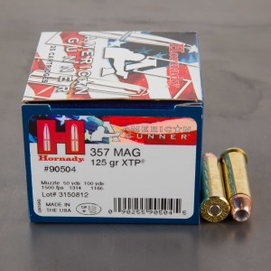 25rds – 357 Magnum Hornady American Gunner 125gr. XTP Ammo