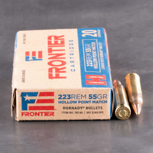 20rds – 223 Rem Hornady Frontier 55gr. HP Match Ammo