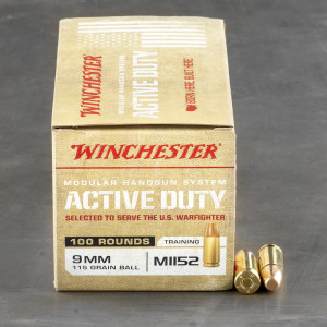 100rds – 9mm Winchester Active Duty 115gr. FMJ M1152 Ammo