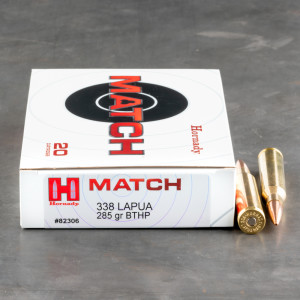 120rds - 338 Lapua Hornady Match 285gr. Boat Tail Hollow Point Ammo