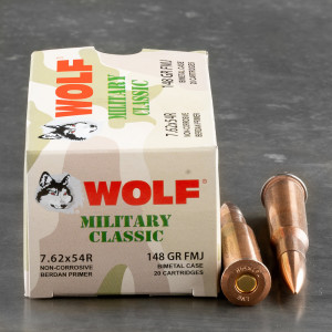 500rds – 7.62x54r Wolf Military Classic 148gr. FMJ Ammo