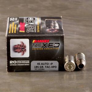 20rds – 45 ACP +P Barnes TAC-XPD 185gr. TAC-XP SCHP Ammo