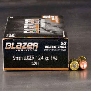 50rds - 9mm Blazer Brass 124gr. FMJ Ammo