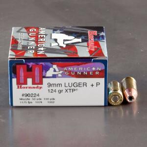 25rds – 9mm +P Hornady American Gunner 124gr. XTP JHP Ammo