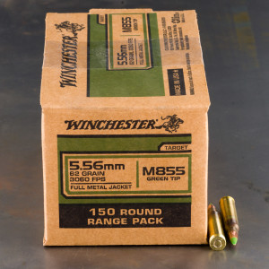150rds – 5.56x45 Winchester 62gr. FMJ M855 Ammo
