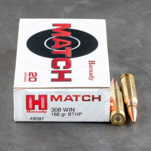 20rds – 308 Win Hornady Match 168gr. BTHP Ammo