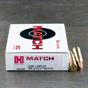 20rds - 338 Lapua Magnum Hornady 285gr. ELD Match Ammo